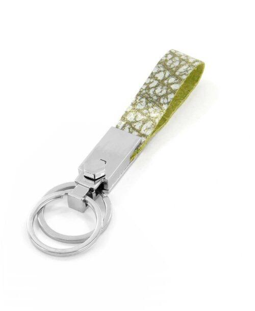 מחזיק מפתחות מיוחד עור ירוק לבן