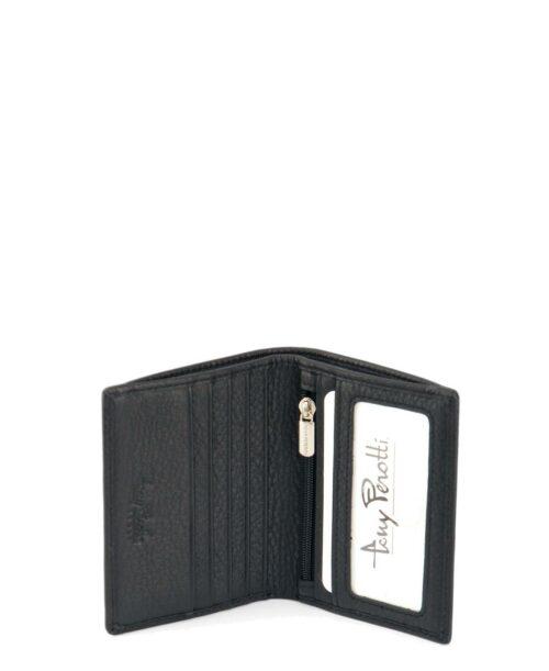ארנקים לגברים טוני פרוטי נאפה ארנק קטן שטרות 6 כרטיסים וכסף קטן שחור.