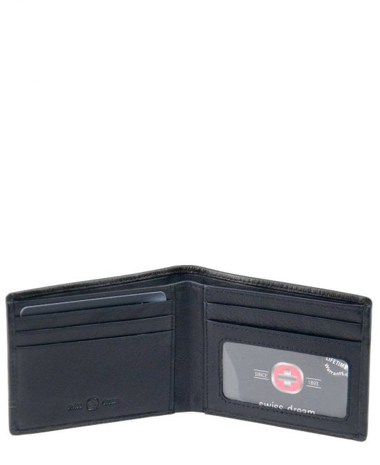 ארנקים לגברים סוויס דק במיוחד 5 כרטיסים שטרות שחור.