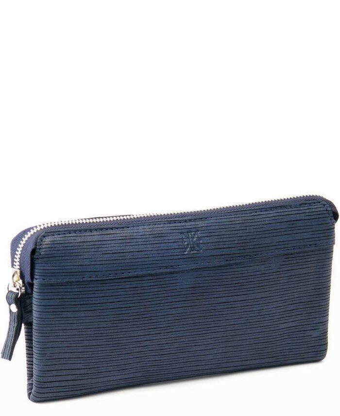 ארנק קלאץ גדול נאפה אקססוריז רובין כחול פסים1
