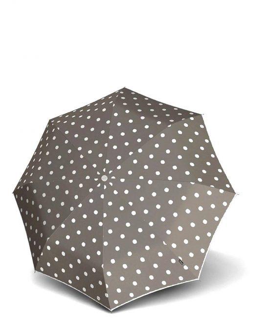 מטריות קנירפס מטרייה בינונית קטנה פתיחה סגירה אוטו' חום אפור מנוקד.