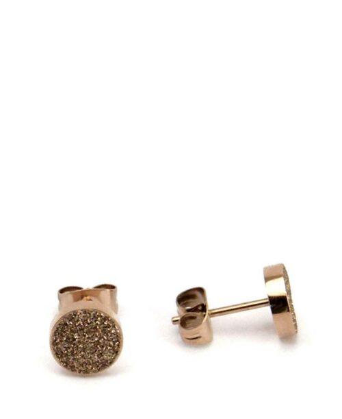 עגיל עיגול זהב שבבי מינרל זהב