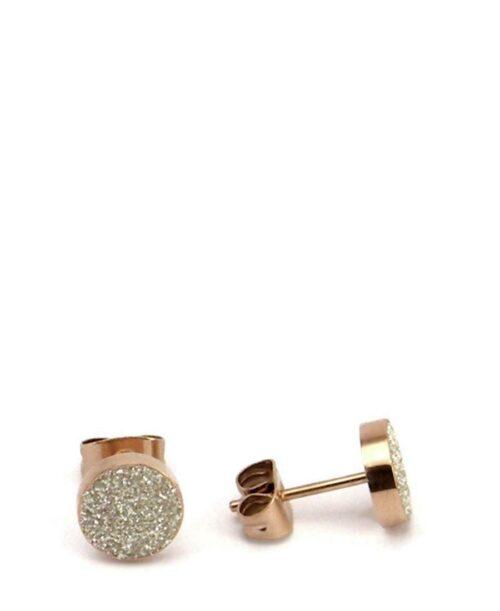 עגיל עיגול זהב שבבי מינרל לבן.עגיל עיגול זהב שבבי מינרל לבן.