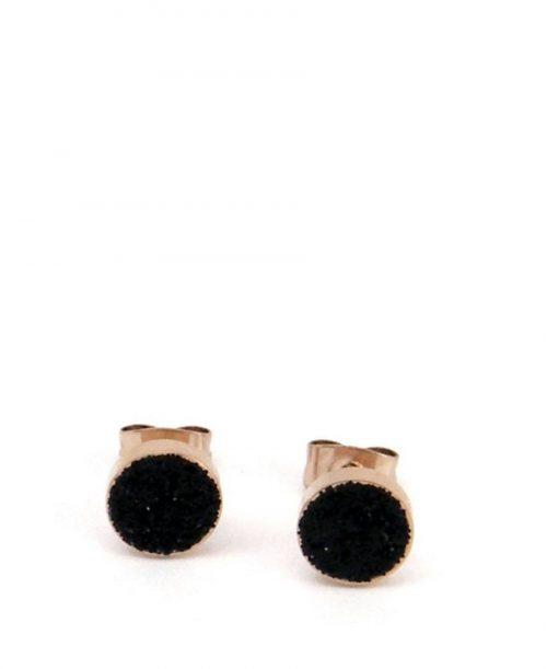 עגיל עיגול זהב שבבי מינרל שחור