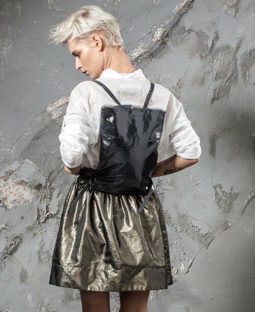 תיקי גב לנשים מעור כיסים יפני אפור