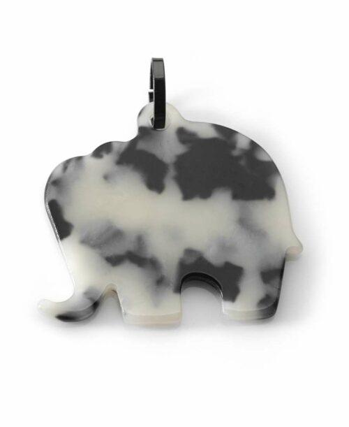 תליון פיל סאשה אקריל שחור לבן