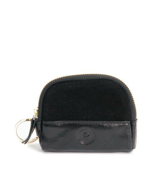 ארנק למפתחות וכרטיס אשראי זמש שחור