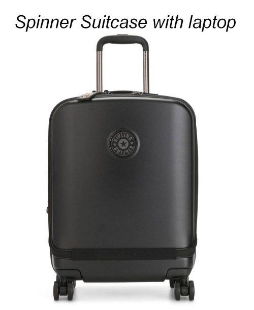 טרולי עסקים למחשב נייד קיפלינג פאק שחור מט, מזוודה עליה למטוס לאנשי עסקים חלוקה 2 תאים מתרחבת נעילת מנעול