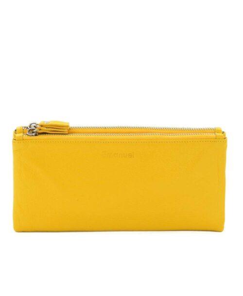 ארנק עור לנשים קלאודיה גדול צהוב, ארנקים לנשים.