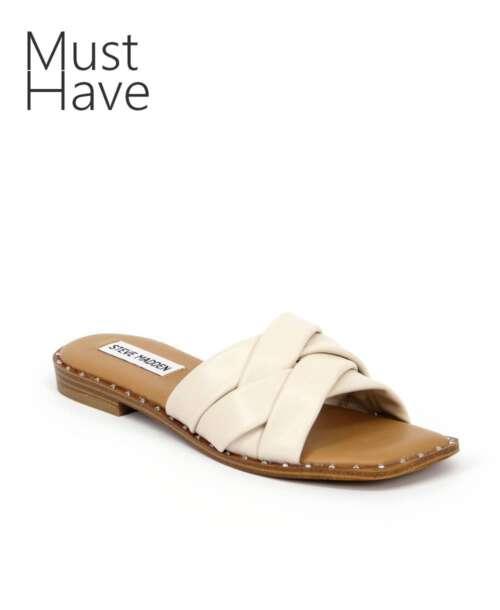 כפכפים לנשים סטיב מאדן טרון בהיר רצועות קלוע, נעליים לנשים.