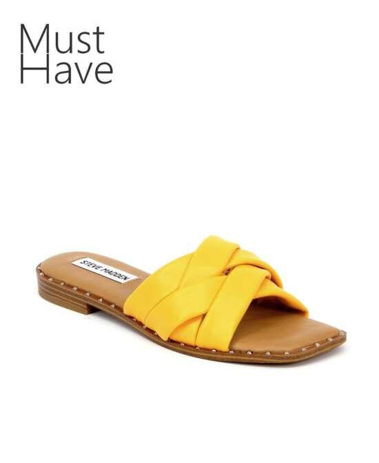 כפכפים לנשים סטיב מאדן טרון חרדל רצועות קלוע, נעליים לנשים.