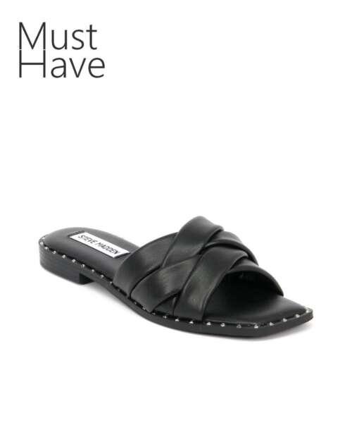 כפכפים לנשים סטיב מאדן טרון שחור רצועות קלוע, נעליים לנשים.