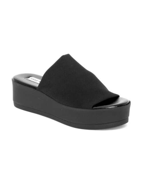 כפכפי פלטפורמה סטיב מאדן בד שחור, נעלי נשים.