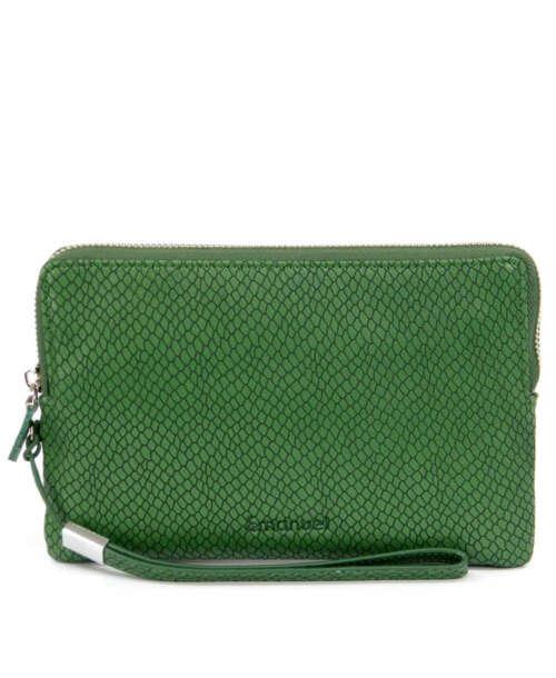 ארנק גדול לנשים נחש ירוק, ארנקים גדולים לנשים מעור בצבע ירוק גימור נחש מיוחד.