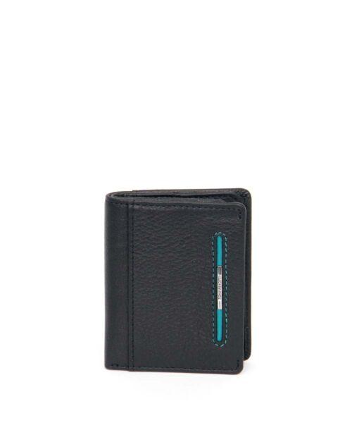 ארנק קטן לגבר Tony Perotti פס כחול דק שחור, ארנק לגבר.