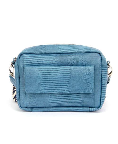 תיק צד לנשים אנג'י כיס לטאה כחול, תיקים לנשים מעור. (1)